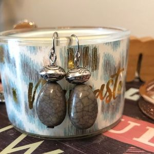 Jewelry - Silver Charcoal Grey Drop Earrings